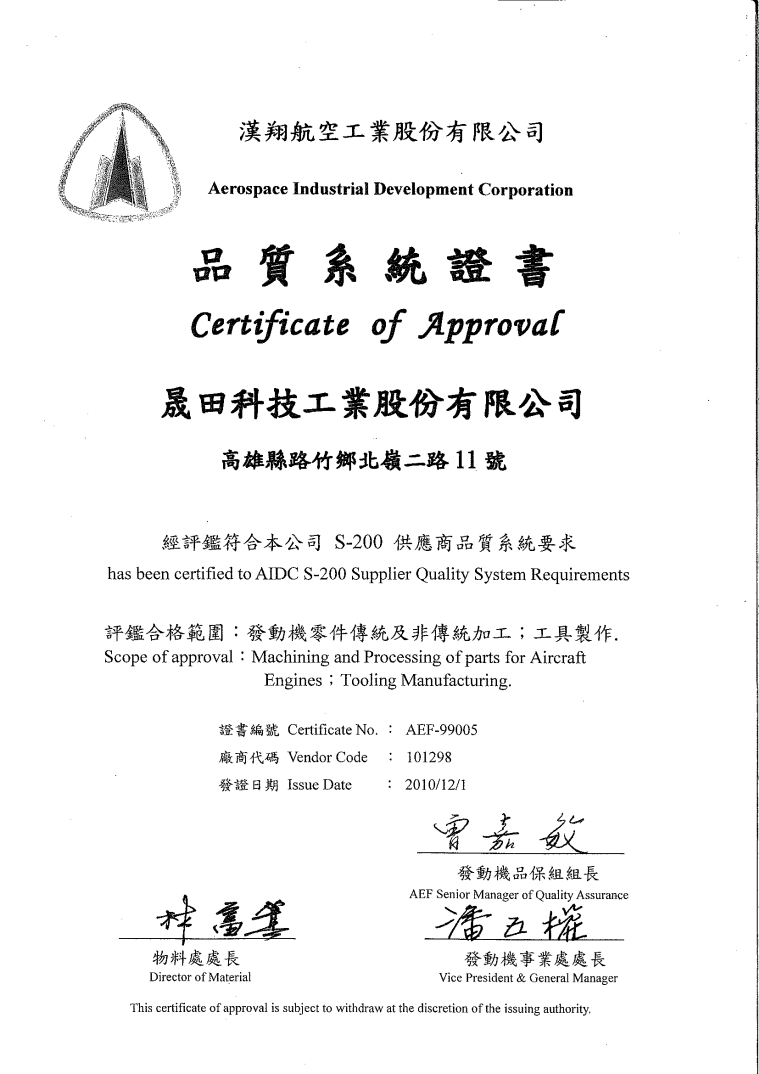 AIDC Supplier QS certificate